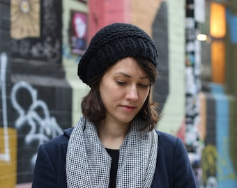 Slouchy Beanie Hat, Womens Knitted Hat, Chunky Slouchy Beanie Hat, Winter Hat, Black