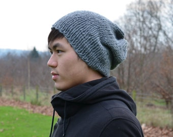 Men s Slouchy Beanie Men s Knitted Hat Mens Slouchy  4338f825ac9