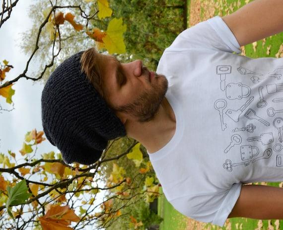 Anthracite Men s Slouchy Beanie Hand Knit Hat for Men  28da6f63c88