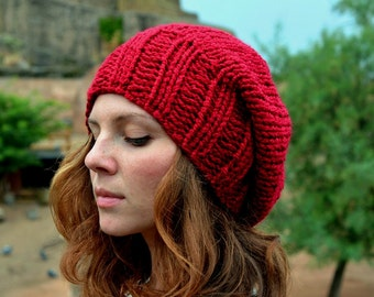 Slouchy Beanie, Women's Slouchy Beanie, Winter Hat, Chunky Knit Hat, Winter Accessories, Red Wine