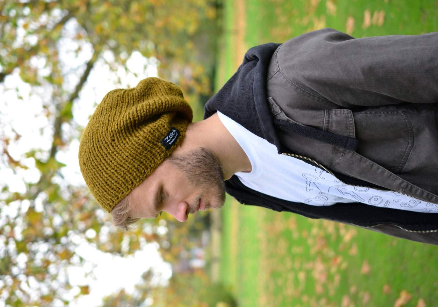 Men's Slouchy Beanie, Hand Knitted Hat, Winter Slouchy Hat, Olive Green