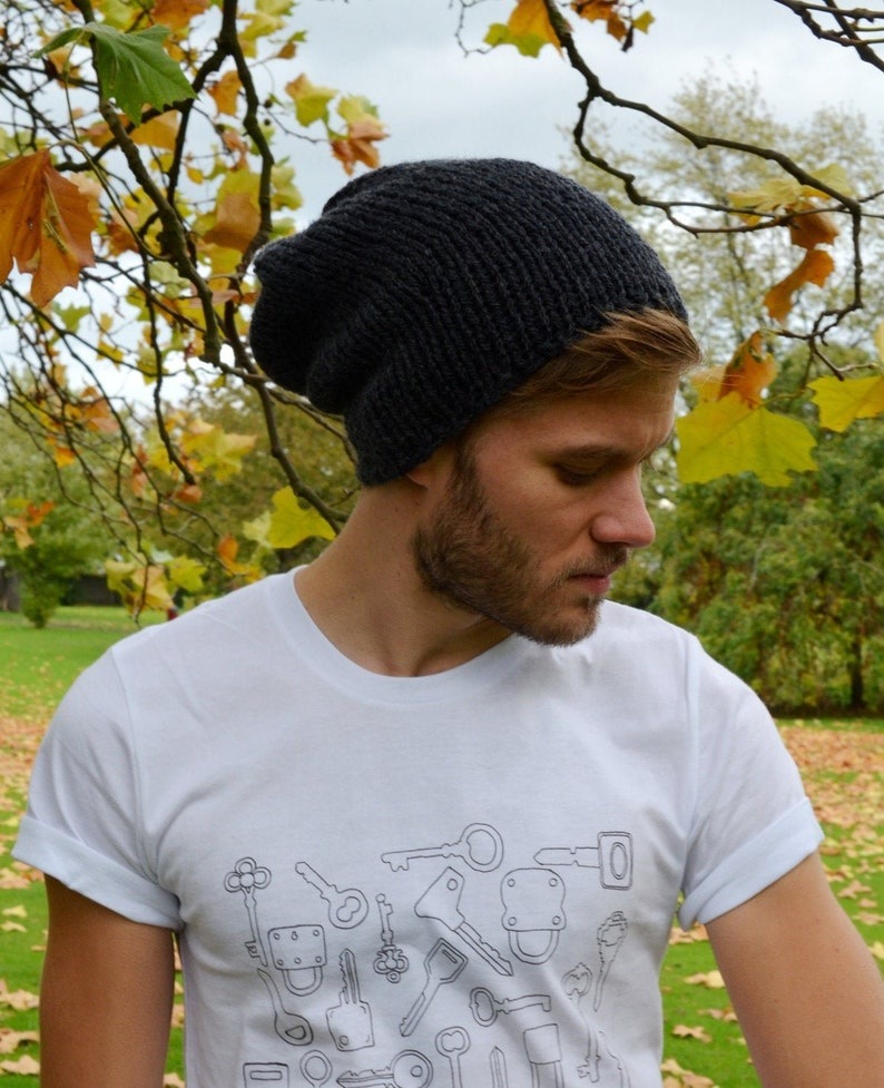 Anthracite Men's Slouchy Beanie Hand Knit Hat for Men image 1