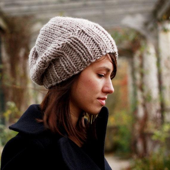 de32d9d347b Oatmeal Slouchy Beanie Womens Beanie Chunky Hat Hand Knit Hat