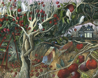 Autumn Orchard Art Print of Original Painting