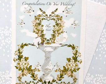 Wedding Card Blue Skies with Floral Fountain
