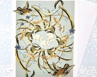Greeting Card Blank Sparrows Nest