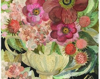 Art Print Original Watercolor Grasshopper with Flowers