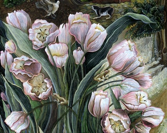 Pink Tulips with Peepers Art Print of Original Acrylic Painting