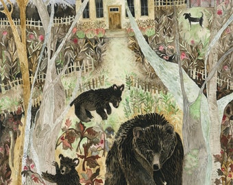 "Art Print Original Watercolor ""Maggie"" Dog with Three Black Bears"
