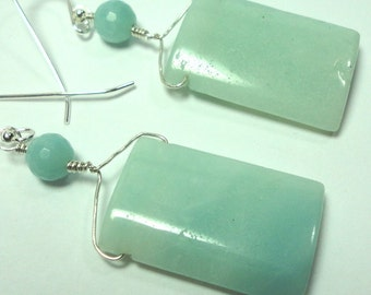 Amazonite Earrings Aqua AAA Quality Bold Amazonite Rectangle Earrings with Sterling