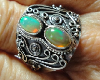 Opal Ring with Antique Bali Silver Work and 2 Genuine Natural Colorful Opals, in a Vintage Sterling Ring, Size 8.5