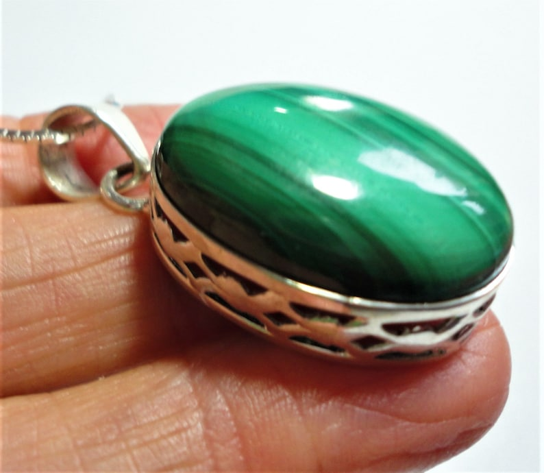 w 20 Sterling Box Chain Malachite Pendant with a Natural Banded Kelly Green Malachite Cabochon Pendant in a Sterling Filigree Setting
