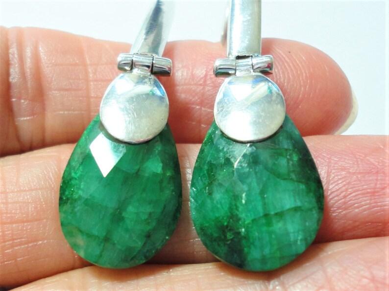 Emerald Earrings in Long Sterling Hook Contemporary Mounting Rough Cut Teardrop Genuine Emeralds in Hinged Sterling Ear Wire Earrings