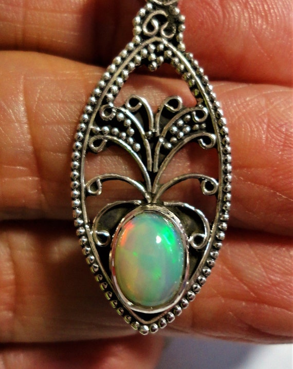 Green Turquoise Bali Filigree 925 Sterling Silver Pendant 1 5//8