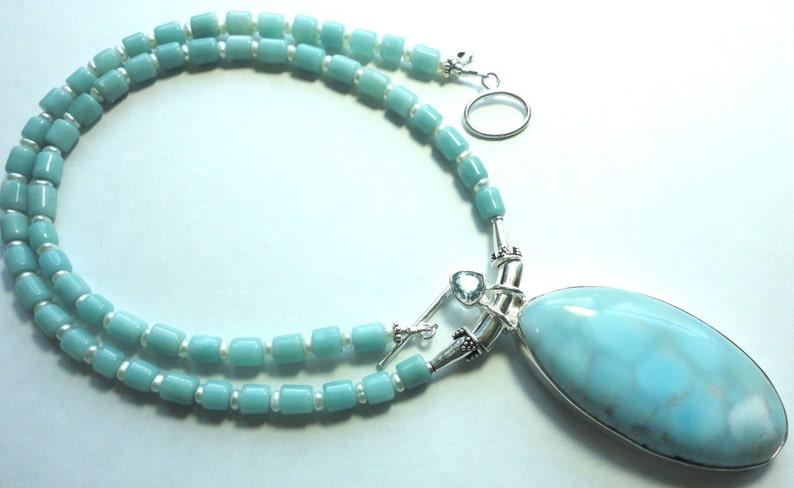 Larimar Pendant and Necklace w Blue Topaz and Amazonite Beads w Pearls is a Large 2 14 Top Quality Turtleback Larimar Gem Set in Sterling