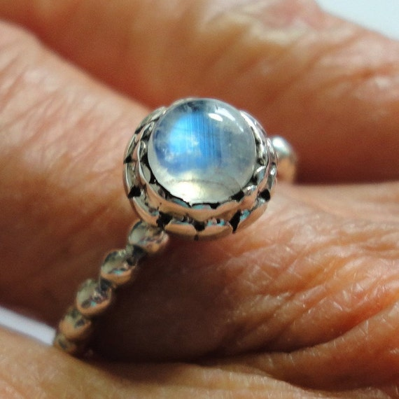 Vintage Sterling Silver and Blue Cabochon Moonstone RingStacking RingStackable Ring Fog Ring