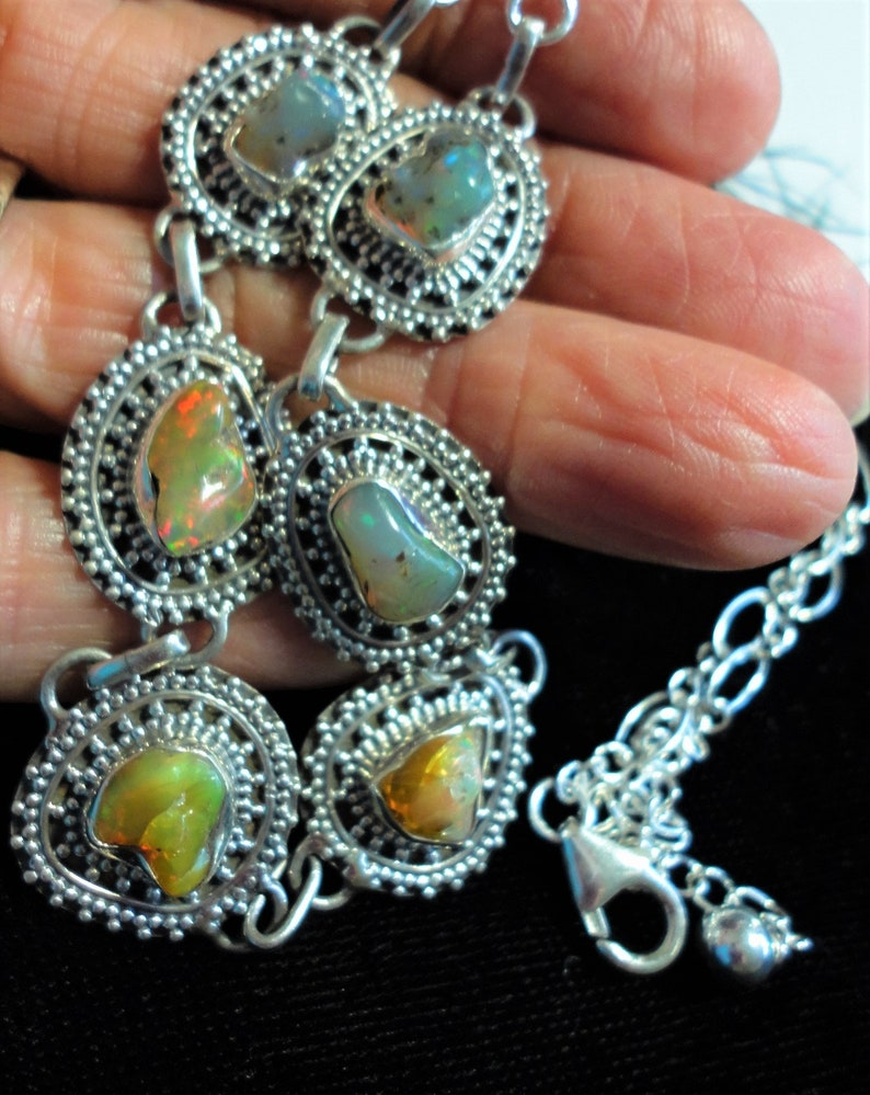 Opal Nugget Choker Necklace with 6 Genuine Raw Natural Opals Set in a 16 12 Bali Sterling Silver Choker plus a 6\u201d Extender Chain