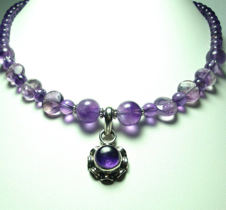 Amethyst Necklace Purple Amethyst AAA Quality Cabochon Pendant with AAA Quality Amethyst Beads Necklace with Sterling