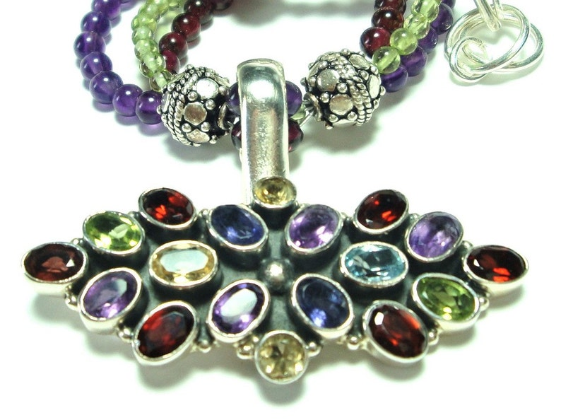 in Sterling on a 3-Strand Amethyst Peridot and Garnet Necklace with Adjustable Length Toggle Multi Gem Pendant with Colorful Genuine Gems