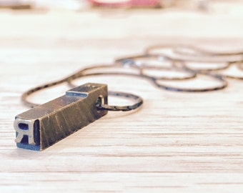 Vintage Letterpress Necklace - Brass Initial Personalized - Other Letters Available