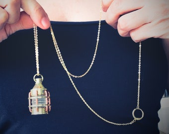 Lamp necklace, Marine necklace, Marine lamp necklace, Boat Lamp necklace, Fishing boat lamp, Lantern boat, Maritime Ship lamp, Old lamp