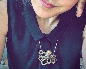 Octopus Necklace, Vintage Octopus necklace, Antique octopus necklace, Cephalopod necklace, Sepia necklace, Squid necklace, Kraken necklace