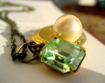 By the Green Sea... a sweet and feminine oval locket necklace