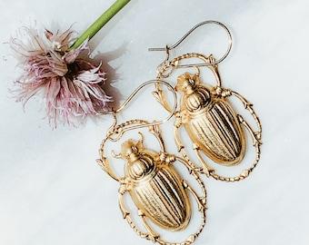 Beetle earrings, Insect earrings, Bug earrings, Animal earrings, Beetle earrings dangle, Golden beetle earrings, Entomologist earrings, Gift
