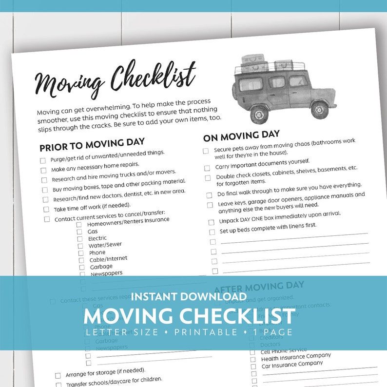 graphic regarding Moving Checklist Printable called Relocating Listing / Letter / Printable / Quick Obtain
