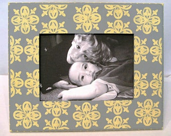 Gray And Yellow 5x7 Painted Picture Frame with Medallion Pattern , wedding photo frame , modern home decor , baby nursery decor