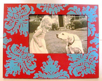Hand Painted 4x6 Picture Frame , Nursery Decor , Modern Home Decor, Baby Boy Nursery Decor, Baby Shower Gift, Damask Frame, Custom Frames