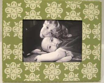Sage Green and Cream Hand Painted 5x7 Picture Frame with Medallion Pattern