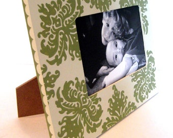 Sage Green and Cream Damask 4x6 Picture Frame , Hand Painted Picture Frame , Country Home Decor , Family Photo Frames , Wedding Photo Frames