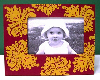 Hand Painted 4x6 Picture Frame, Burgundy and Gold Damask Painted Frame, Holiday Home Decor, Holiday Photo Frame, Traditional Home Decor