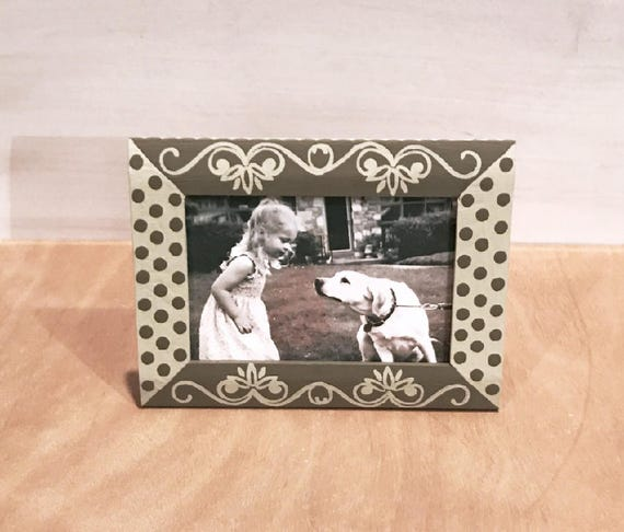 Khaki And Beige Hand Painted 4x6 Picture Frame Modern Home Etsy