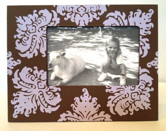 4X6 Painted Picture Frame, Chocolate Brown and Lavender Damask, Custom Picture Frame, Family Photo Frame, Painted Wood Frame, Frame Grouping