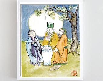 Three Vinegar Tasters: Buddha, Confucius, Lao Tzu, print of original painting, Tao of Pooh, zenbrush decor, Buddhist Taoist art