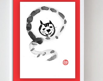 Tiger Year of the tiger for Chinese Lunar New Year Zodiac, zenbrush original sumi ink painting, japan zen decor, tiger, taoist, enso
