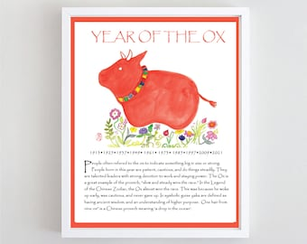 Year of the ox poster, Chinese Lunar New Year Zodiac Poster, 2021 Year of the OX wall art, print of zenbrush watercolor, Ferdinand zen decor
