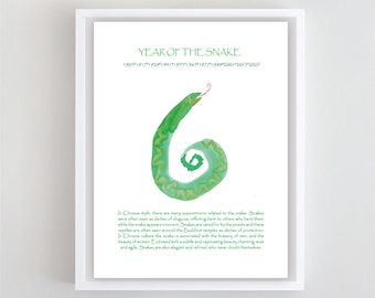 Snake, Zen Brush Painting, Chinese New Year of the Snake, Zen Art, Original Painting for the Chinese Zodiac, zenbrush original sumi ink art