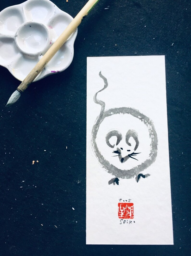 Chinese Lunar New Year of the Rat Hong bao Year of the Rat japan scroll zen brush Sumi-e ink painting tea art 2020 New Years Card