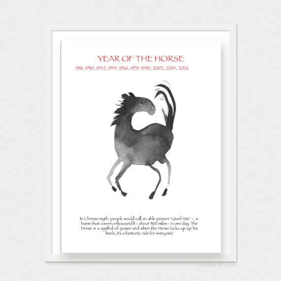 Horse For Chinese New Year Of The Horse Original Zen Sumi Etsy