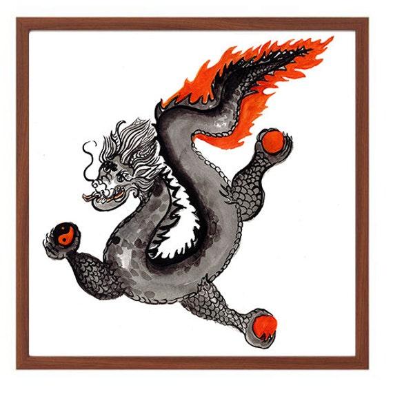 Dragon, Chinese Zodiac Year of the Dragon, Zen Sumi e Ink Original  Painting, Japanese Art, zen decor, buddhist art, scroll art, tao, thangka