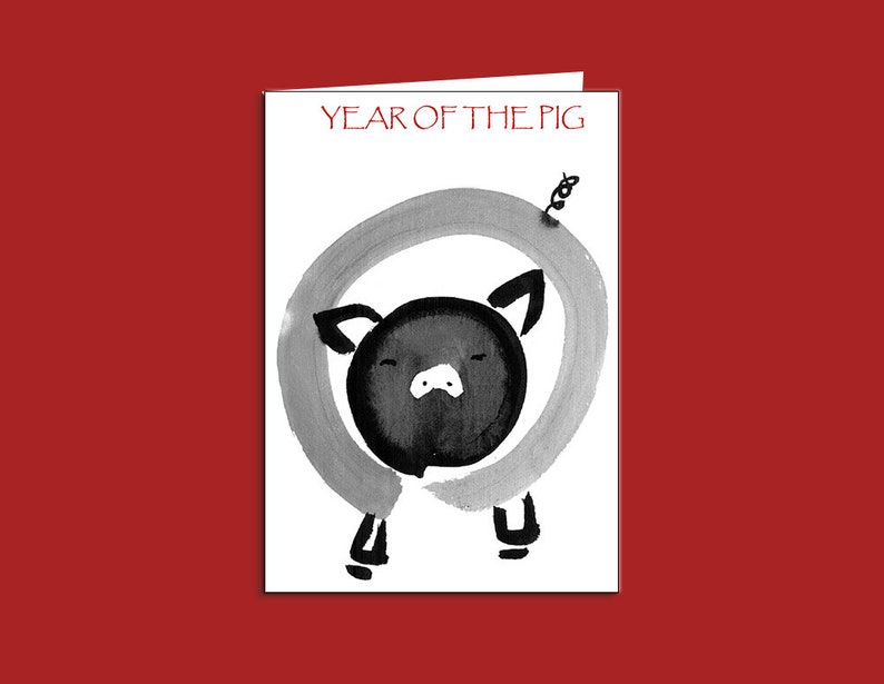 Pig Chinese New Year Of The Greeting Card Red Envelope 2019 Sumi E Ink Custom Birthday Hip Baby Zodiac