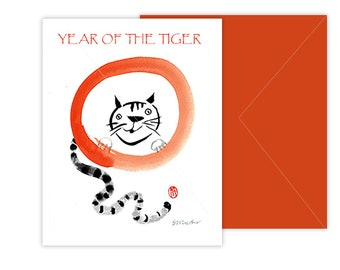 TIGER New Years Card, Year of the Tiger for Chinese Lunar New Year Zodiac, zenbrush sumi ink painting, japan zen decor,scroll