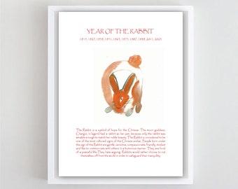 Rabbit, Chinese Lunar New Year of the Rabbit, Original Zen Brush Art Sumi-e ink Painting, zen decor, japan style, child's nursery art