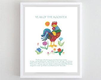 Year of the Rooster poster, Chinese Lunar New Year Zodiac Poster, Rooster wall art, print of zenbrush watercolor, zen decor