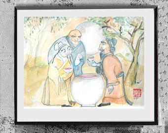 The Vinegar Tasters: Buddha, Confucius, Lao Tzu painting, Tao of Pooh, zen decor, japan tea art, Buddhist Taoist painting, Asian wall art
