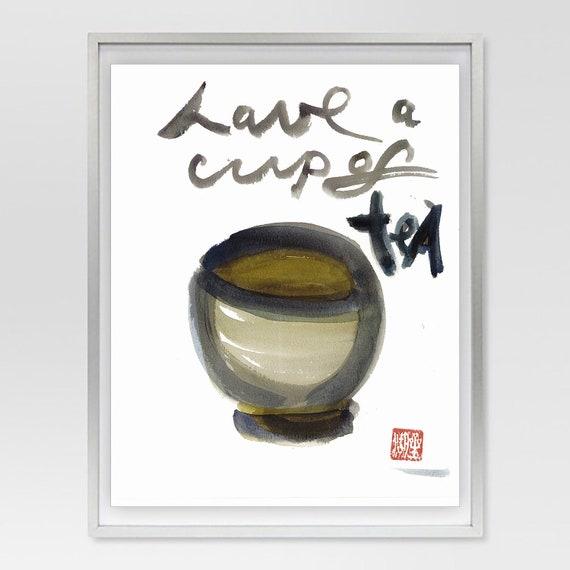 Tea, Enso circle, Zen Brush Art Calligraphy