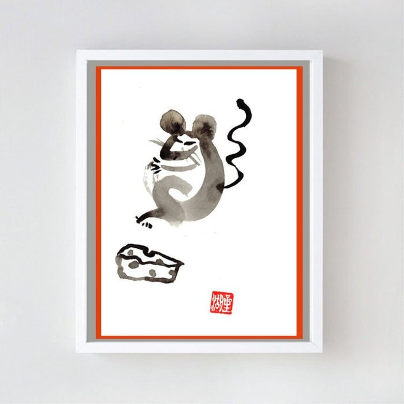 Mouse Gets the Cheese, Rat, Chinese New Year of the Rat, 2020, Zen Brush  Sumi Ink Painting, japan tea scroll, childs room, nursery baby art